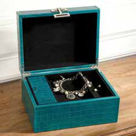 Small Turquoise Croc Box ,  , hover_image