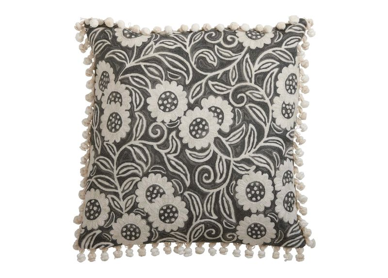 Crewel Sunflower Vine Pillow, Gray