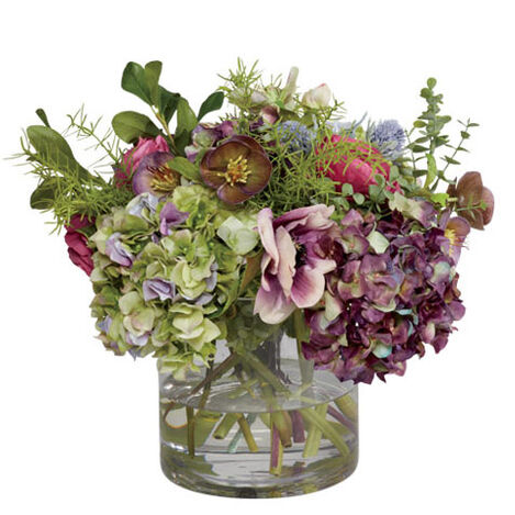 Hydrangea, Hellebore & Poppy Mix in Vase Product Tile Image 442248