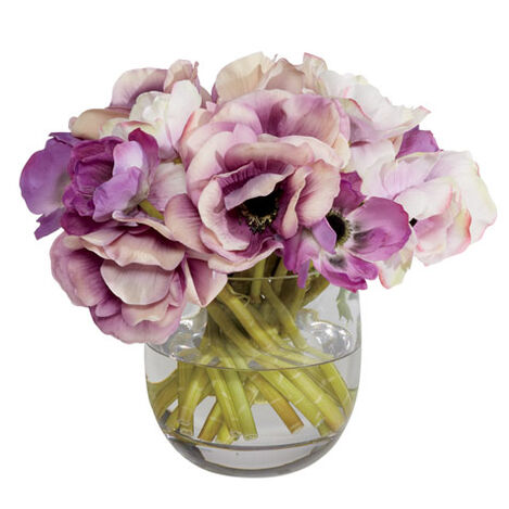 Violet Anemone in Glass Vase Product Tile Image 442247