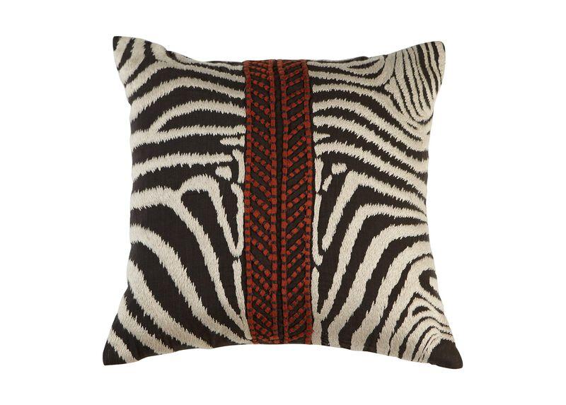 Modern Banded Zebra Pillow ,  , large_gray