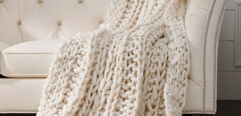 Cross Cable Knit Throw, Ivory