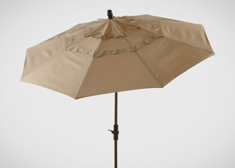 Khaki Round Market Umbrella ,  , large_gray