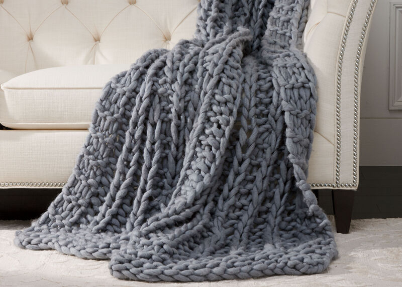 Cross Cable Knit Throw, MidBlue