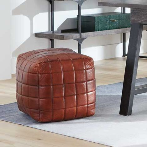 Theron Leather Pouf Product Tile Hover Image 421853