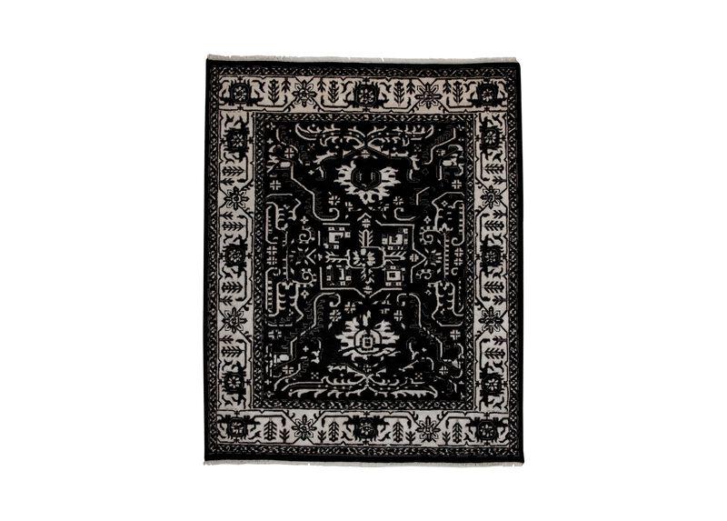 Heriz Deconstructed Rug, Black/Ivory