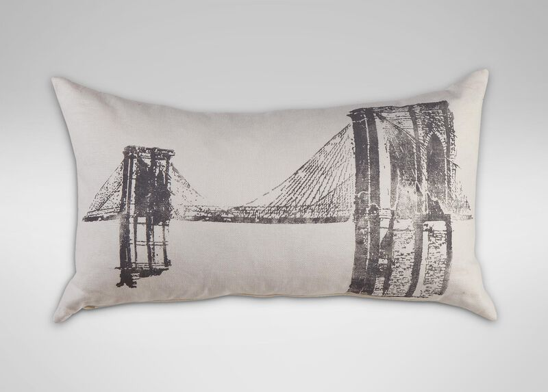 Brooklyn Bridge Block-Printed Pillow ,  , large_gray