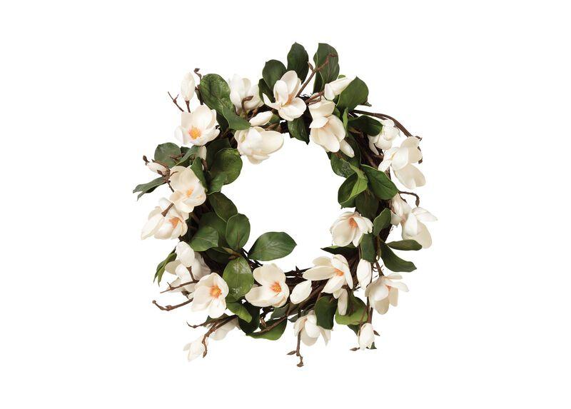 "24"" White Magnolia Wreath"
