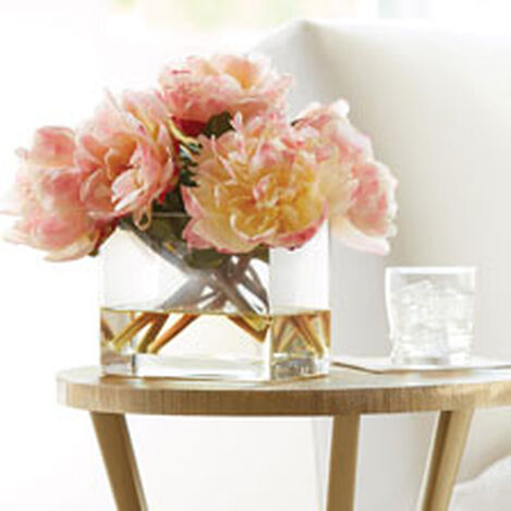 Peach Peonies in Rectangular Glass Vase Product Tile Hover Image 442222