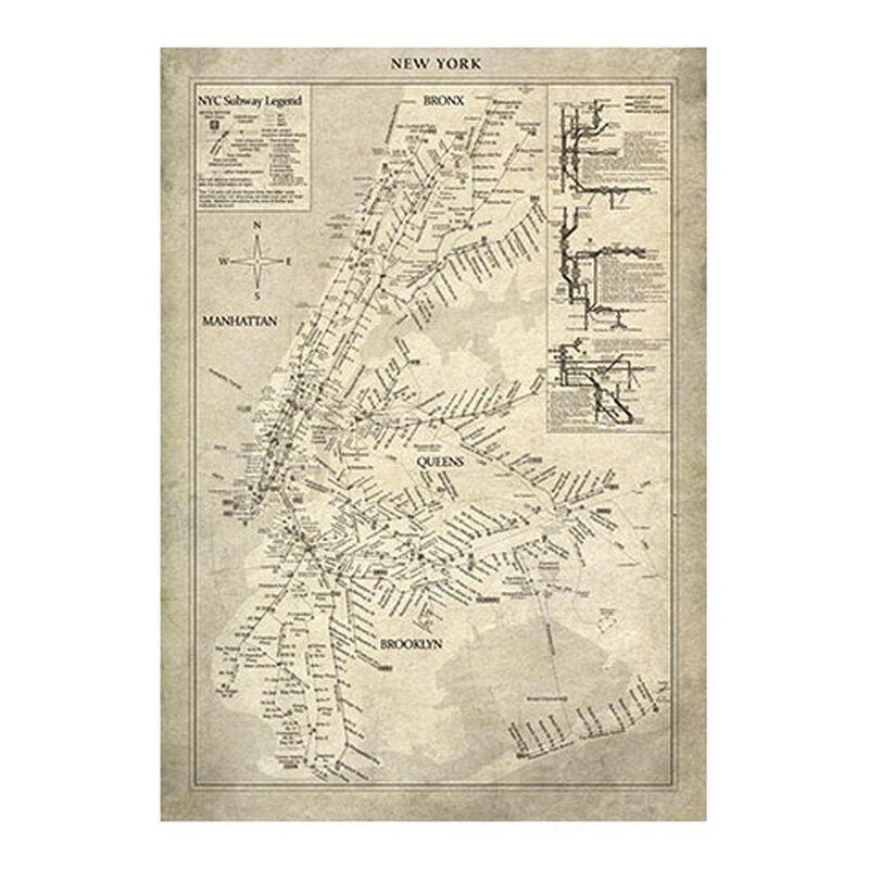 New York Subway Map Vintage
