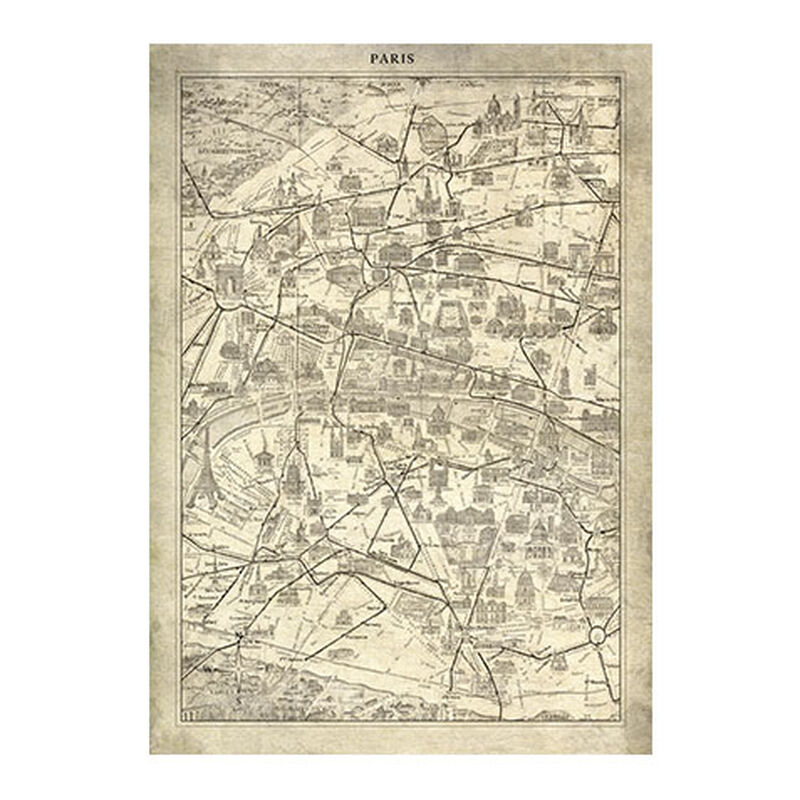 Paris Map I Vintage