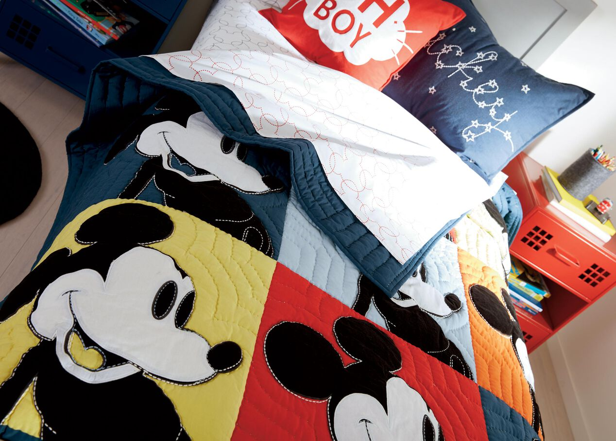 color block mickey quilt hidden bedding ethan allen. Black Bedroom Furniture Sets. Home Design Ideas