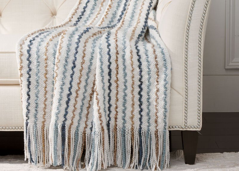 Squiggle Knit Throw, Ivory
