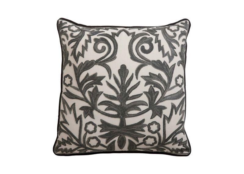 Crewel Embroidered Fern Trellis Pillow