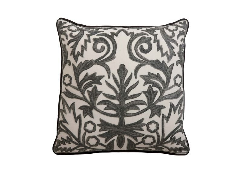 Crewel Embroidered Fern Trellis Pillow