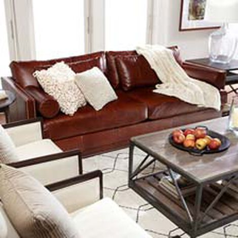 Shop sofas and loveseats leather couch ethan allen for Leather couch family room
