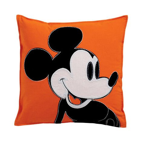 Color Block Mickey Mouse Pillow, Carrot ,  , large
