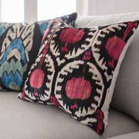 Silk Velvet Pillow, Pink/Black Ikat ,  , hover_image