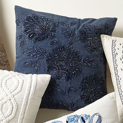 Overdyed Blue Floral Pillow Product Tile Hover Image 065691   BLU