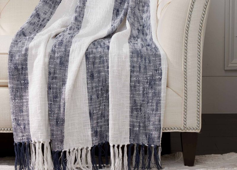 Navy Striped Throw ,  , large_gray