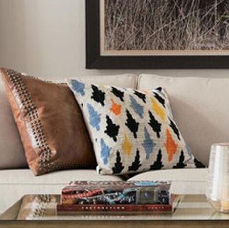 Silk Velvet Pillow, Taupe/Multi ,  , hover_image