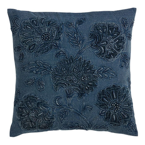 Overdyed Blue Floral Pillow Product Tile Image 065691   BLU