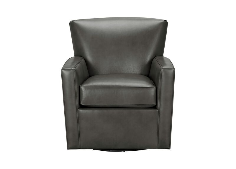 Turner Leather Swivel Chair, Quick Ship