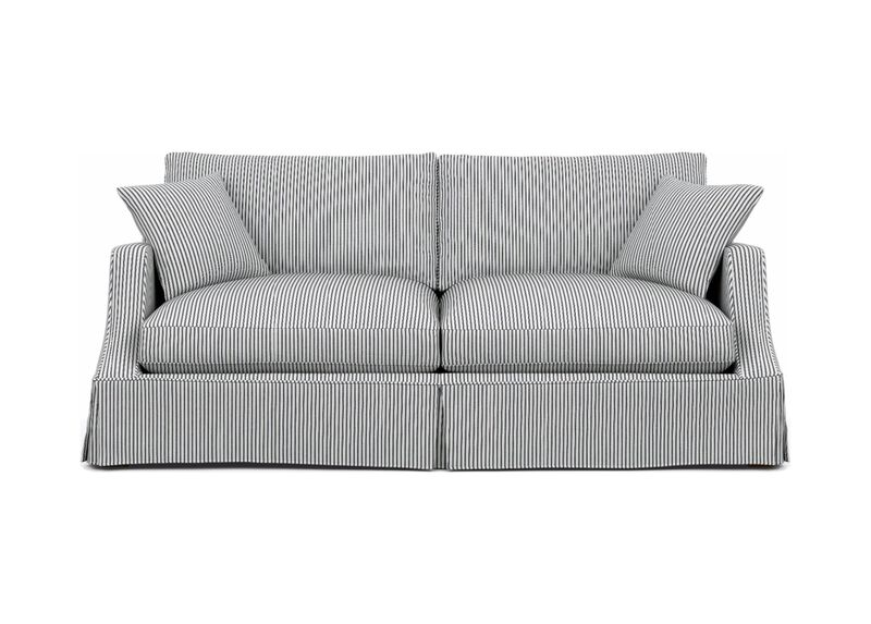 Lynn Slipcovered Sofa , Ticking Black (21756), cotton ticking , large_gray
