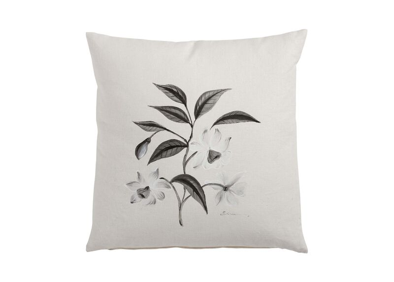 Hand painted white flower branch pillow pillows ethan for Hand painted pillows