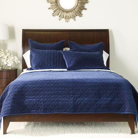 Gresham Navy Velvet Coverlet and Shams ,  , large