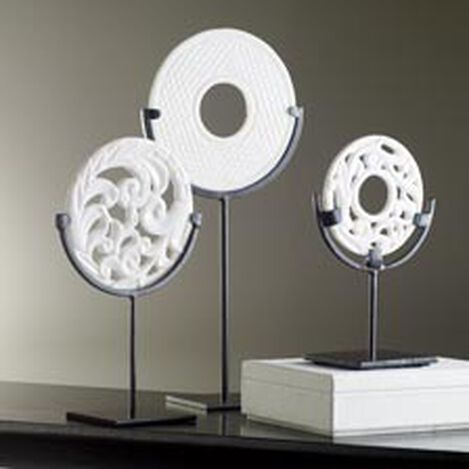 Carved White Disc on Stand ,  , hover_image