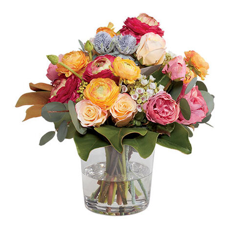 Ranunculus & Roses Sedum in Glass Vase Product Tile Image 442246