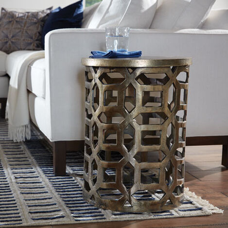 Bennie Pierced Brass Stool Product Tile Hover Image 421700