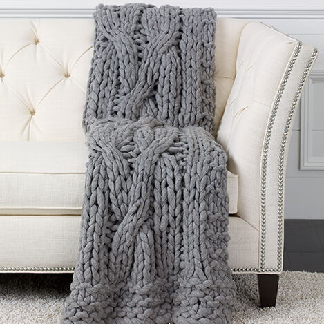 Cross Cable Knit Throw, Gray ,  , large