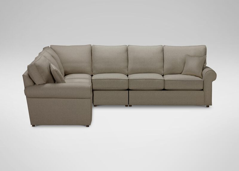 Retreat Roll-Arm Four Piece Sectional, Quick Ship , Palmer Fog (Q3055), chenille , large_gray