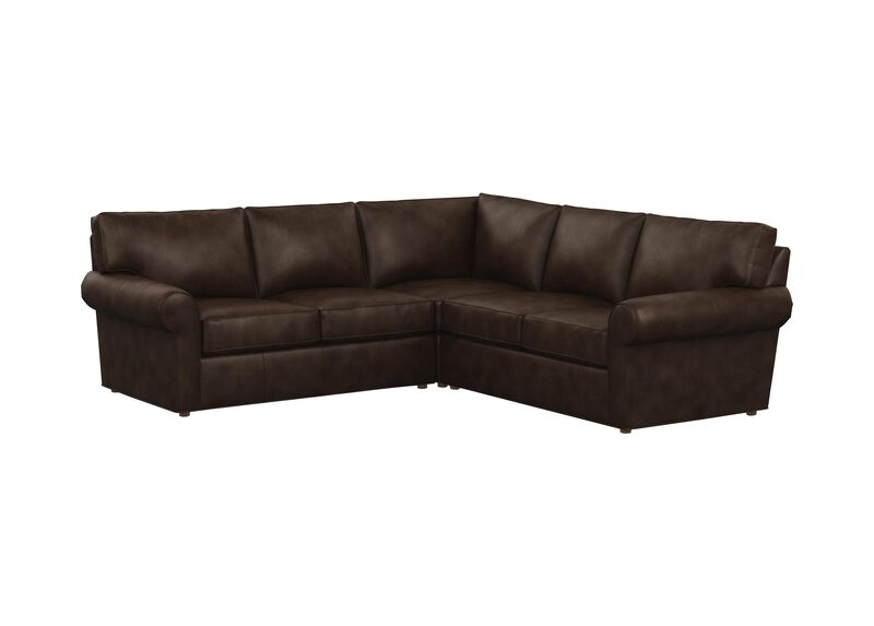 Retreat Leather Roll-Arm Three-Piece Sectional