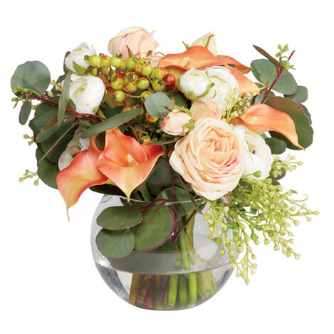 Lilies, Ranunculus & Roses in Fishbowl Vase Product Tile Image 442244