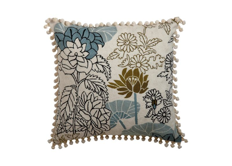 Crewel Embroidered Floral Outline Pillow ,  , large_gray