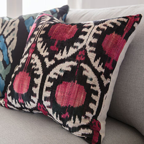 Pomegranate Ikat Silk Velvet Pillow, Pink/Black Product Tile Hover Image 061302