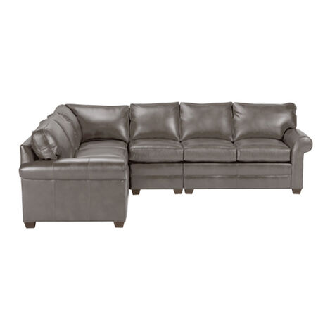 Bennett Roll-Arm Four-Piece Leather Sectional, Quick Ship Product Tile Image 677888G4