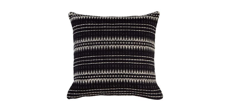 "22"" Black and Ivory Woven Silk Pillow"