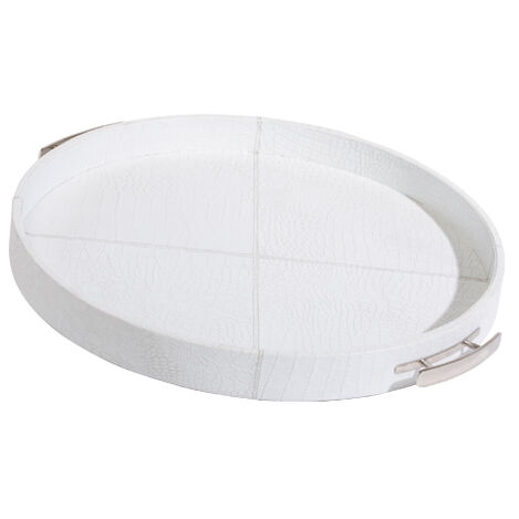 Round White Leather Tray ,  , large
