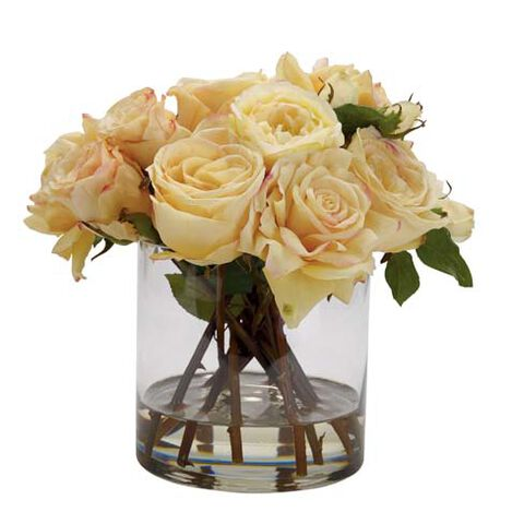 Mixed Yellow Roses in Glass ,  , large