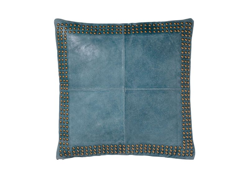 Teal Worn Leather Pillow ,  , large_gray