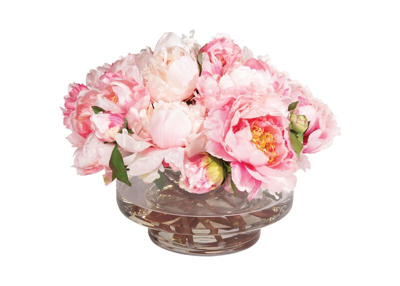 Pink Peonies in Footed Glass Vase