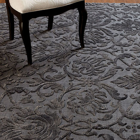 Jacquard Damask Rug, Charcoal Product Tile Hover Image 041253