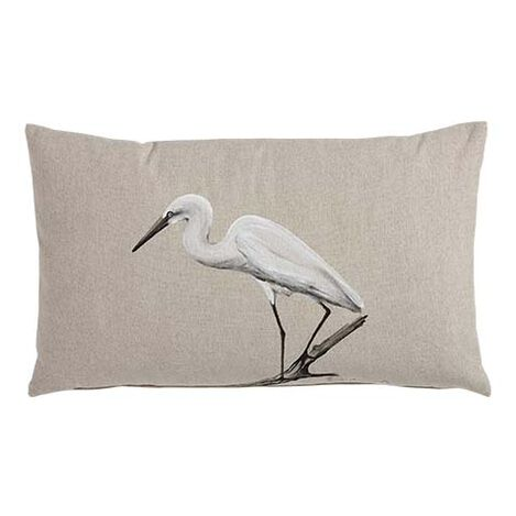 Hand-Painted Bird on Driftwood Pillow ,  , large