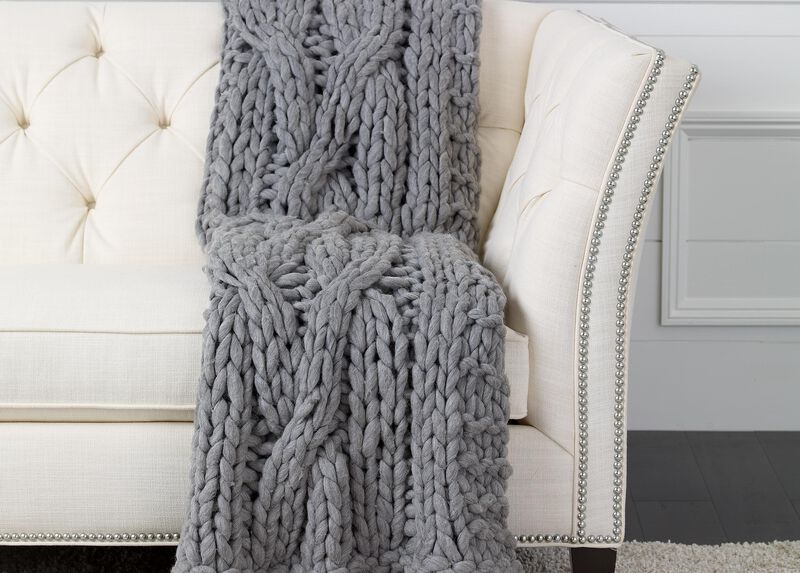 Cross Cable Knit Throw, Gray