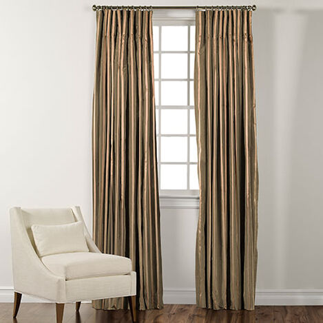 "90"" Moss Green and Gold Taffeta Stripe Inverted Pleat Panel ,  , large"