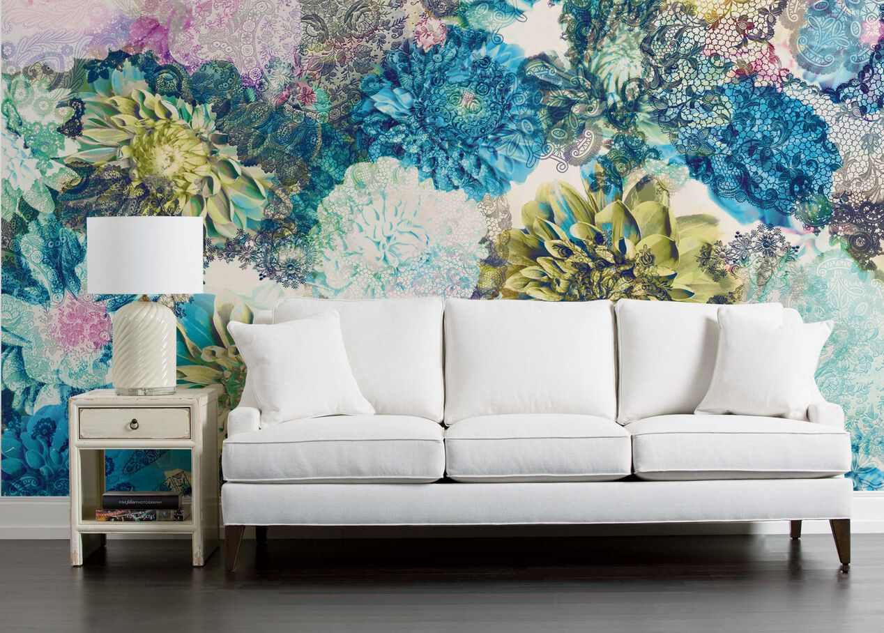 Frisky Flowers Colorful Boho Wall Mural